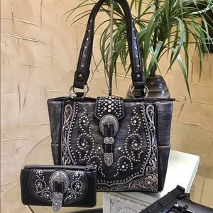Montana West Buckle Collection tote bag+ wallet